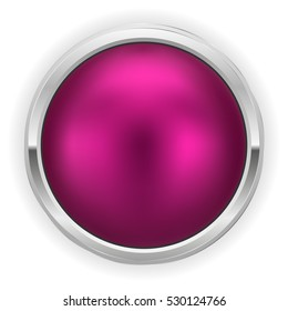 Purple christmas button with silver border on white background