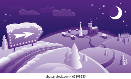 Purple Christmas landscape with little town, aroow sign, moon, tree, snow, road
