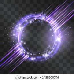 Purple circle flare frame with glowing tail of shining laser stream and stardust sparkles, cold fairy tale illumination. Blizzard energy ring flows in motion, outer space light effect portal.