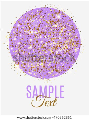 Purple Circle Golden Glitter Dust Sample Stock Vector