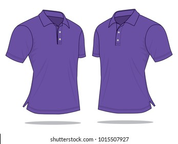Purple classic polo shirt vector(Perspective views)
