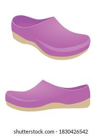 Purple  clogs shoes. vector illustration