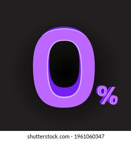 Purple color zero percent pay business sign with shadow on dark black background. Promotion advertising paying symbol. Null credit rate offer