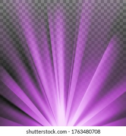 Purple colored rays with color spectrum flare