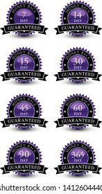 Purple colored seal, sign, label, icon money back guaranteed badge set with ribbon on top isolated on white background.