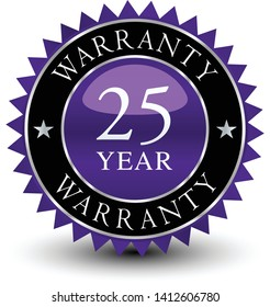 Purple colored seal, sign, label, icon 25 year warranty badge isolated on white background.