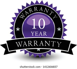 Purple colored seal, sign, label, icon 10 year warranty badge with ribbon on top isolated on white background.