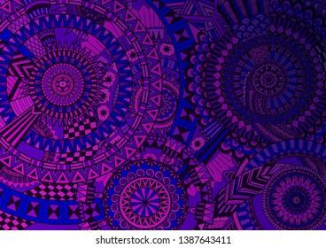Purple complex mandala movement design for background. Vector illustration