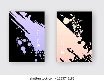Purple coral gradient ink brush stroke poster on black background. Japanese style. Vector illustration of grunge stains