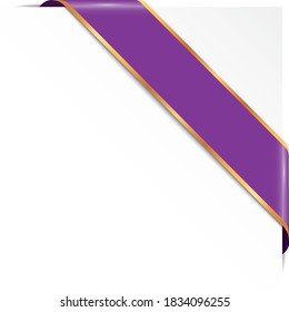 purple corner ribbon banner with gold frames on white background