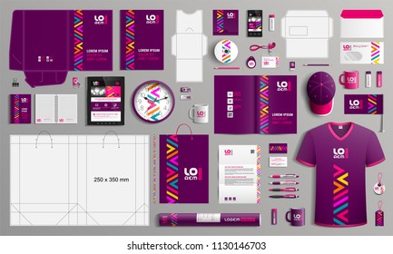 Purple corporate identity template design with color geometric elements. Business stationery