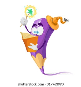 Purple Crayon cartoon character wearing a hat reading a book of