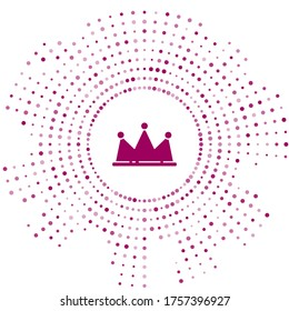 Purple Crown icon isolated on white background. Abstract circle random dots. Vector Illustration