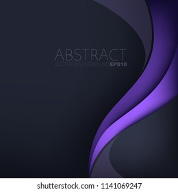 Purple curve line vector background overlap layer on purple dark space for text and background design