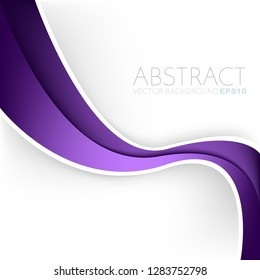 Purple curve line vector background overlap layer on white space for design