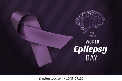 Purple day for Epilepsy Awareness. World Epilepsy Day. March 26. Realistic and detailed purple ribbon in vector illustration.