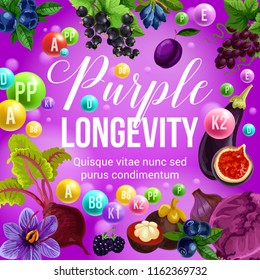 Purple diet for longevity, healthy eating and natural nutrition program. Vector poster of vitamins and minerals in purple organic tropical fruits, berries or vegetables