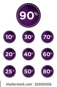 Purple discount prices label vector illustration