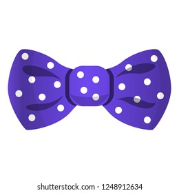 Purple dotted bowtie icon. Cartoon of purple dotted bowtie vector icon for web design isolated on white background