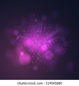 Purple dust vector firework explosion. Abstract Holiday Light Rays. Vector Illustration.