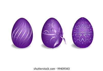Purple easter eggs (EPS 8) isolated on white background