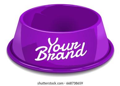 Purple empty bowl for pet's food