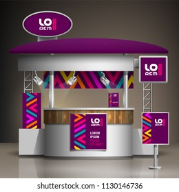 Purple exhibition stand design with color geometric elements. Booth template. Corporate identity