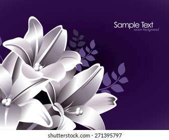 Purple Floral Background with Lily Flowers.
