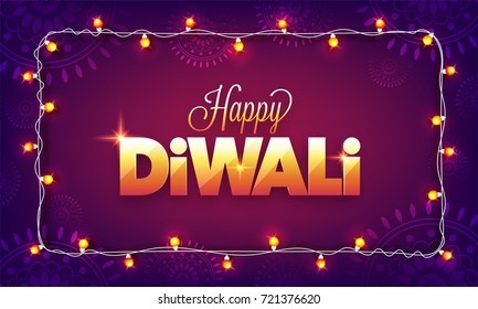 Purple Floral background with Shiny Golden text Happy Diwali and decorated Bunting lights.