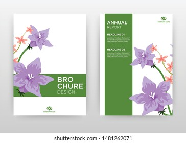 Purple flower on stroke frame design for annual report, brochure, flyer, poster. Flower petal on white background vector illustration for flyer, leaflet, poster. Business abstract A4 brochure template