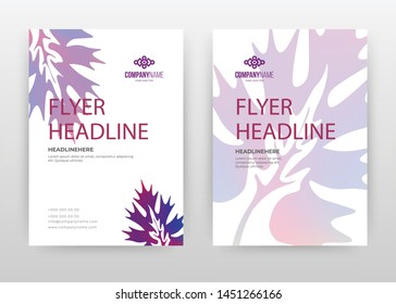 Purple flower petal design for annual report, brochure, flyer, poster. Tropical Floral purple vector illustration for flyer, leaflet, poster. Multipurpose business abstract A4 brochure template.