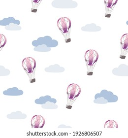 Purple flying balloon in the clouds seamless pattern on a white background. Doodle wallpaper vector. Colorful background with sky