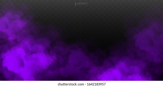 Purple Fog or smoke isolated transparent special effect. White vector cloudiness, mist or smog background. Vector illustration