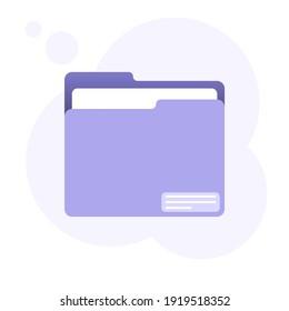 Purple folder icon with document.  Flat isolated illustration.