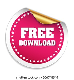 Purple free download sticker with gold peel on white background