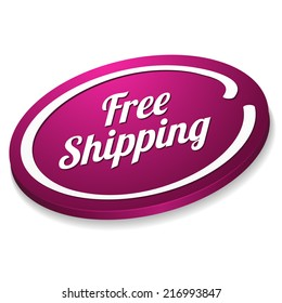 Purple free shipping button on white background