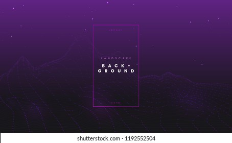 Purple futuristic abstract digital wireframe landscape with particles dots, perspective technology background. Can be used for science presentation, network visualization, and web project. Vector
