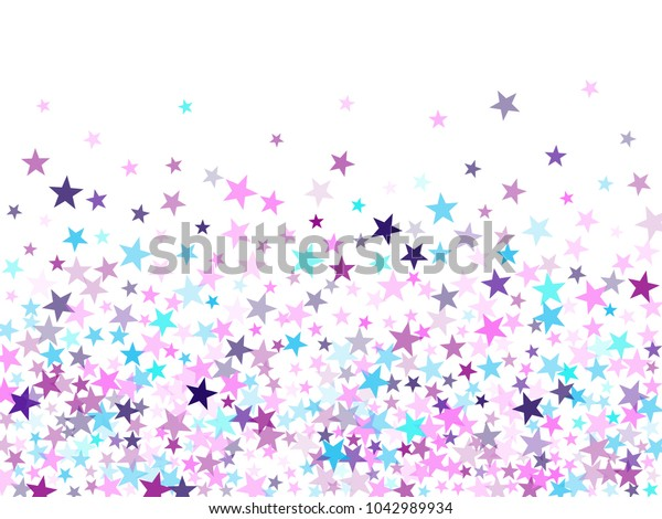 Purple geometric star pattern sparkle vector. Colorful confetti of flying stars, magic geometric sparkles on white. Party design with starburst.
