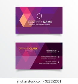 Purple geometrical shape business card vector design