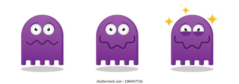 Purple Ghost flat emoticon expression