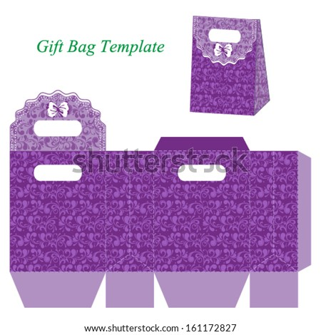 purple gift bag template floral pattern stock vector royalty free