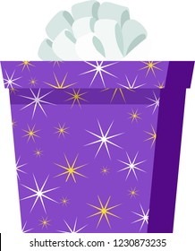 Purple gift box with orange bowknot and star texture