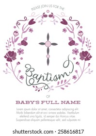 Purple Girl's Baptism/Christening Invitation with Cross Design and Flowers - Vector