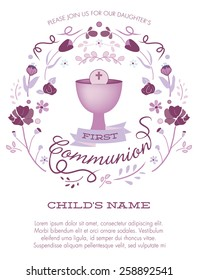 Purple Girl's First Holy Communion Invitation with Chalice and Flowers - Vector