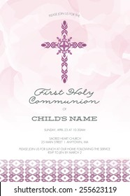 Purple Girl's First Holy Communion/Baptism/Christening/Confirmation Invitation with Cross Design & Watercolor Effect Background � Vector