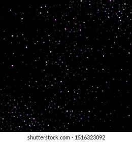 Purple glitter elements, stars shiny confetti. Scattered little, sparkling, flashing ultra violet, Random tiny stellar falling on black background. New Year, Christmas background. Vector illustration.