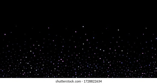 Purple glitter elements, stars shiny confetti. Scattered little, sparkling, flashing ultra violet, Random tiny stellar falling on black background. New Year, Christmas background. Vector illustration.