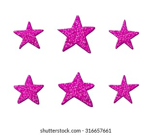 Purple Glitter Shiny Stars can be used for pattern or paper textile texture. Greeting Card for Christmas Holidays. Six different stars isolated on white background. Fashion design vector illustration.