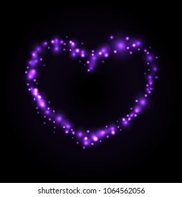Purple Glowing Heart on Dark Background - vector eps10