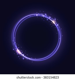 Purple Glowing Rings - vector eps10 abstract background